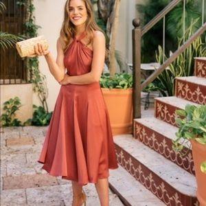 Gal Meets Glam Jacqueline Satin Twist Halter Dress